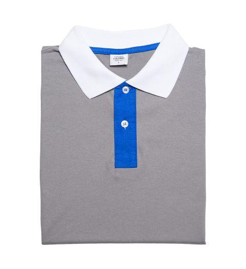 18a971c75d Camisaria Colombo ·  0 . Camisa Polo Masculina Cinza Com Mangas Azuis
