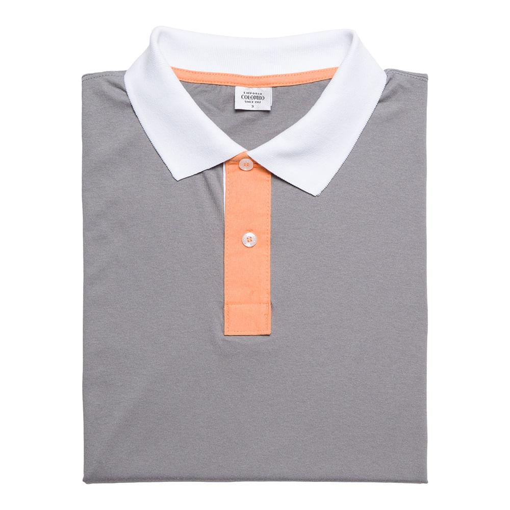 Camisa Polo Masculina Cinza Detalhada - Camisaria Colombo 4ae17102a19