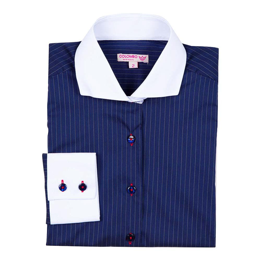 Camisa Social Feminina Azul Marinho Listrada - Camisaria Colombo 1e6eaee1bd7b4