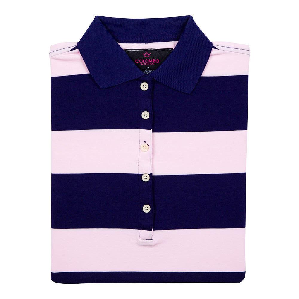 445a037e70 PRODUTO ADICIONADO A SACOLA. Camisa Polo Feminina Azul Marinho Listrada
