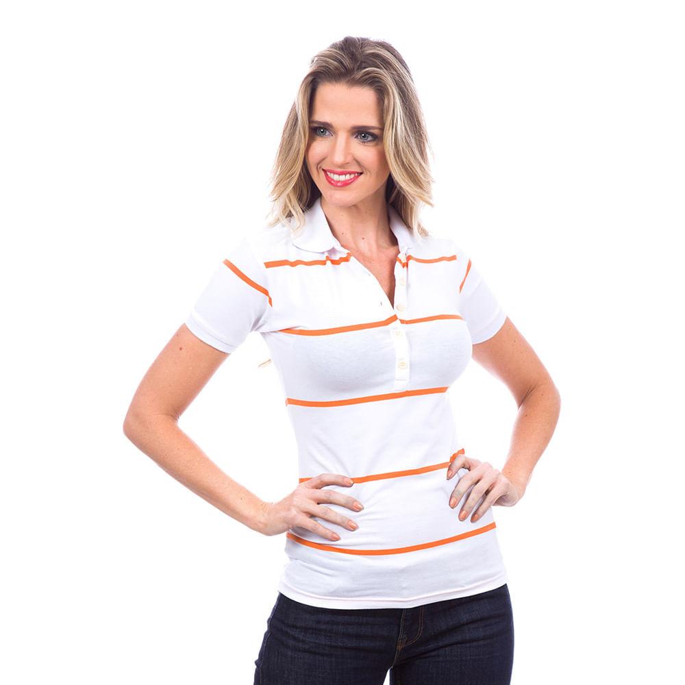 69e03ed0da PRODUTO ADICIONADO A SACOLA. Camisa Polo Feminina Branca Listrada