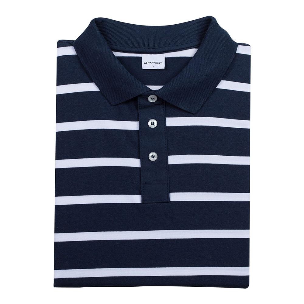 95067533c4 Camisa Polo Masculina Azul Marinho Listrada Upper - Camisaria Colombo