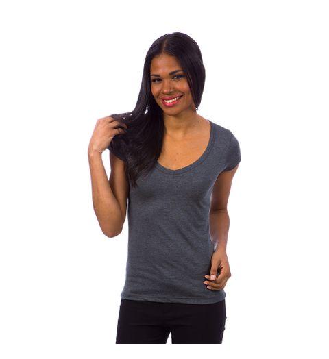 a4f9378e03 Camiseta Feminina Cinza Lisa