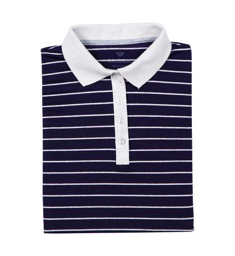 70c8804159 Camisa Polo Feminina Azul Marinho Listrada