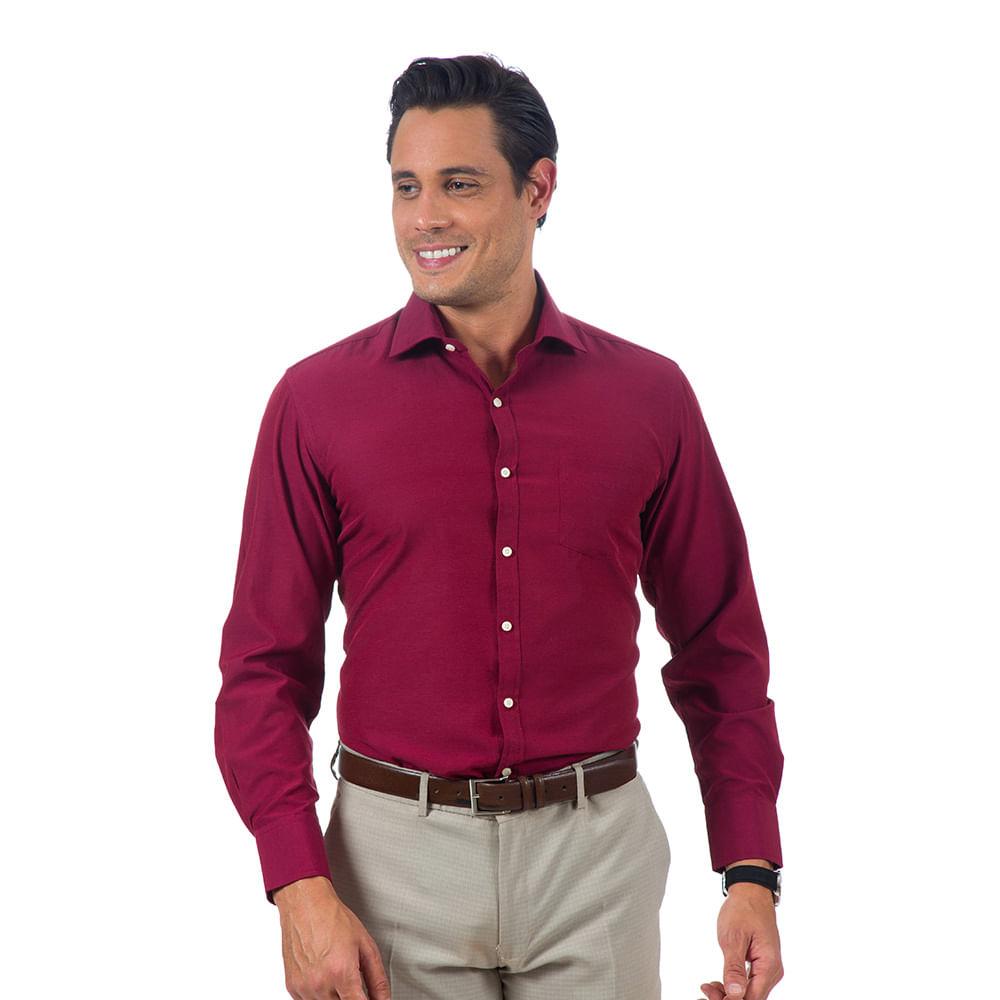 camisa social masculina vinho lisa   camisaria colombo