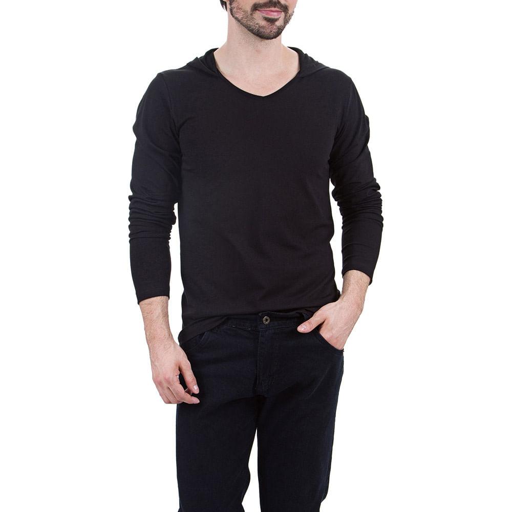 Camiseta Masculina Preta Lisa com Capuz - Camisaria Colombo a8b98776b9e6b