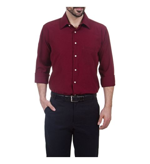 PRODUTO ADICIONADO A SACOLA. Camisa Social Masculina Vinho Lisa e11b142308c1d
