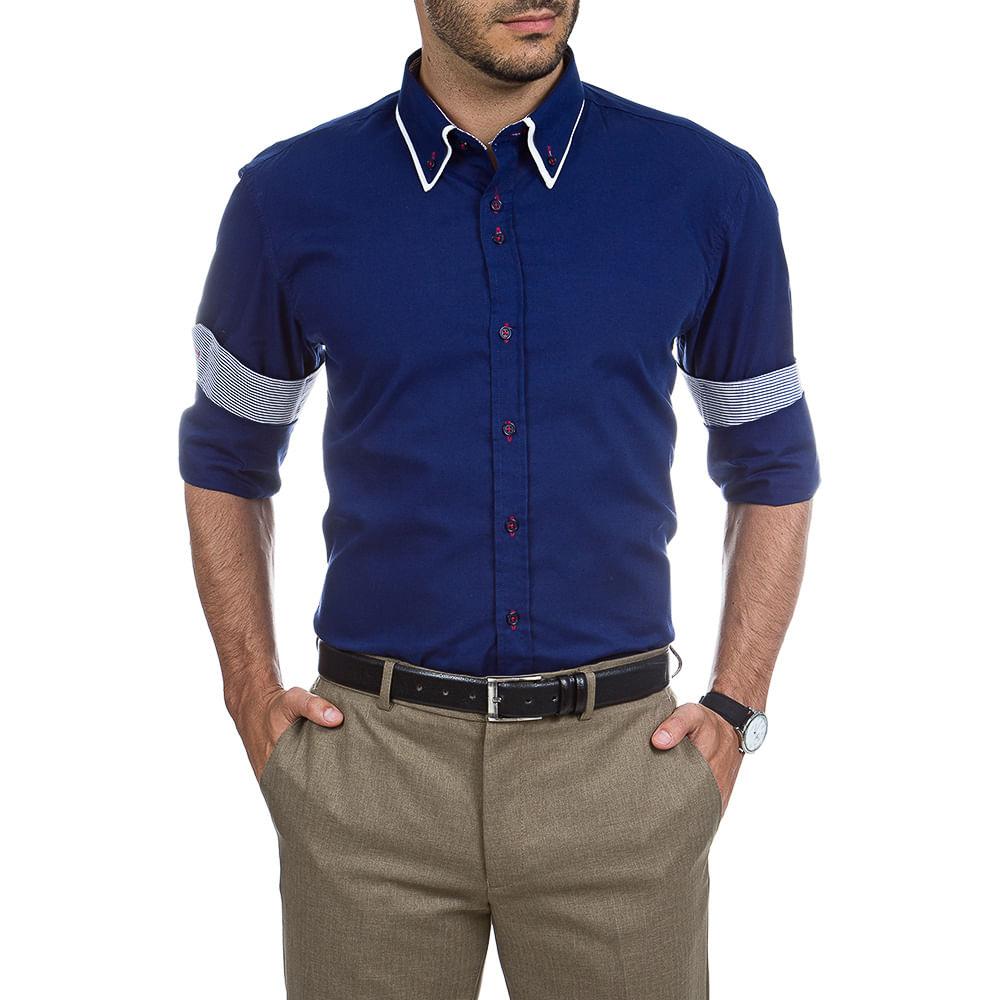 camisa social masculina azul lisa   detalhe   camisaria