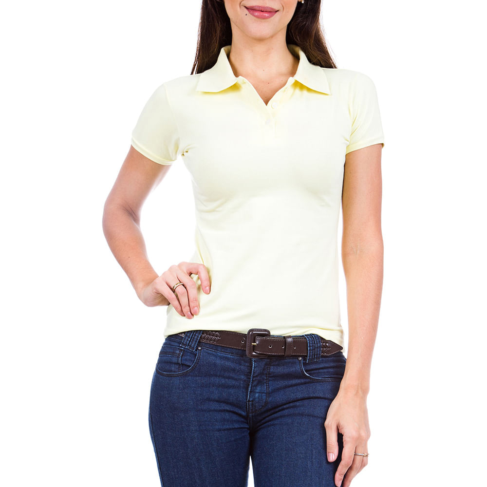 bd645478ae PRODUTO ADICIONADO A SACOLA. Camisa Polo Feminina Amarela Lisa