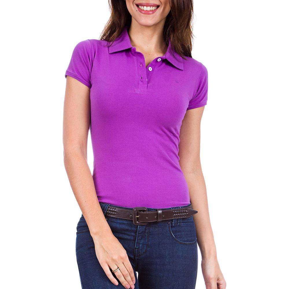 2b7f1ed456 PRODUTO ADICIONADO A SACOLA. Camisa Polo Feminina Roxa Lisa