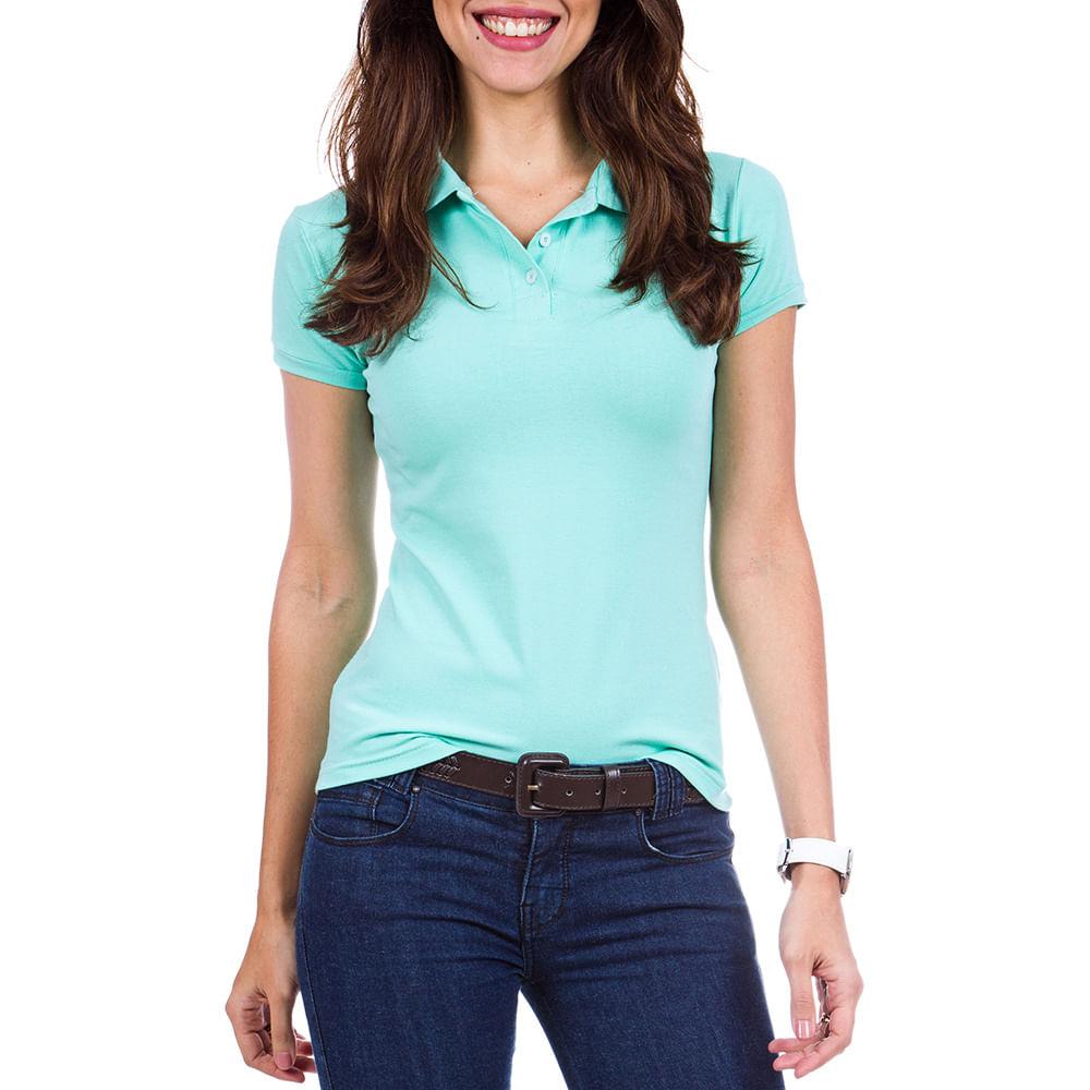 553d5c3dcb PRODUTO ADICIONADO A SACOLA. Camisa Polo Feminina Verde Lisa