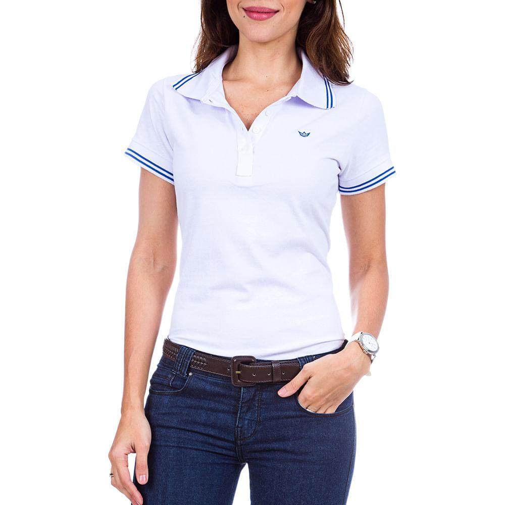 ba934658f2 PRODUTO ADICIONADO A SACOLA. Camisa Polo Feminina Azul Listrada