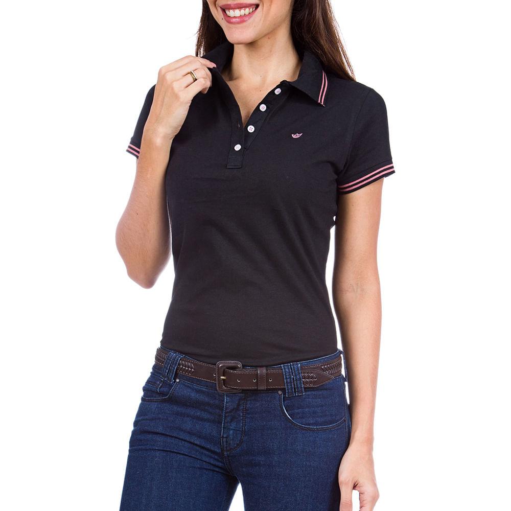 f1a156c8e7 Camisa Polo Feminina Preta com Detalhe - Camisaria Colombo