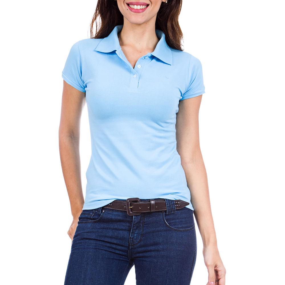 18daca8f0b PRODUTO ADICIONADO A SACOLA. Camisa Polo Feminina Azul Lisa