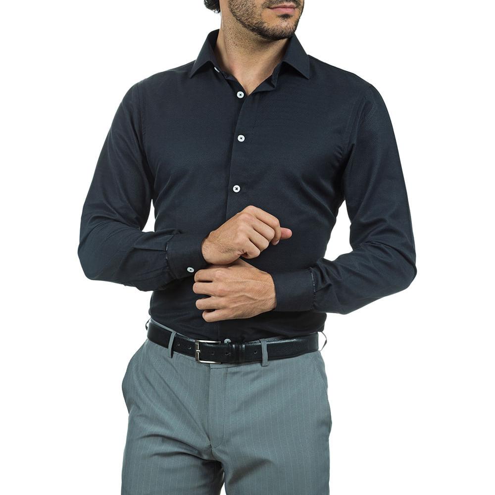 PRODUTO ADICIONADO A SACOLA. Camisa Social Slim Masculina Preta 4cd22fbd78e91
