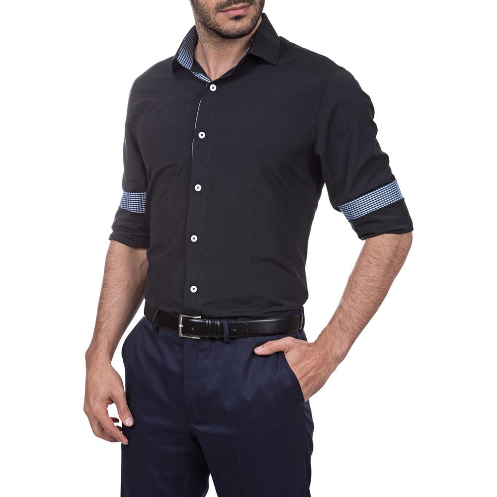 PRODUTO ADICIONADO A SACOLA. Camisa Social Masculina Com Detalhe Preta Lisa f12d1243bd232