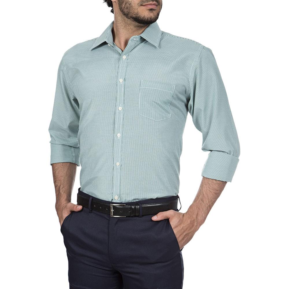 53d46077f8e01 Camisa Social Masculina Verde Listrada - Camisaria Colombo