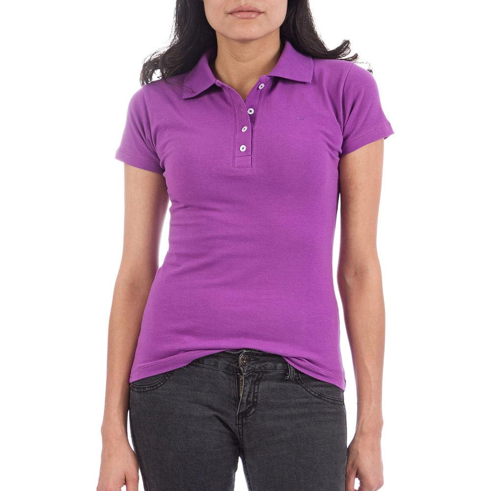 36f9f75adf Camisa Polo Feminina Roxa Lisa
