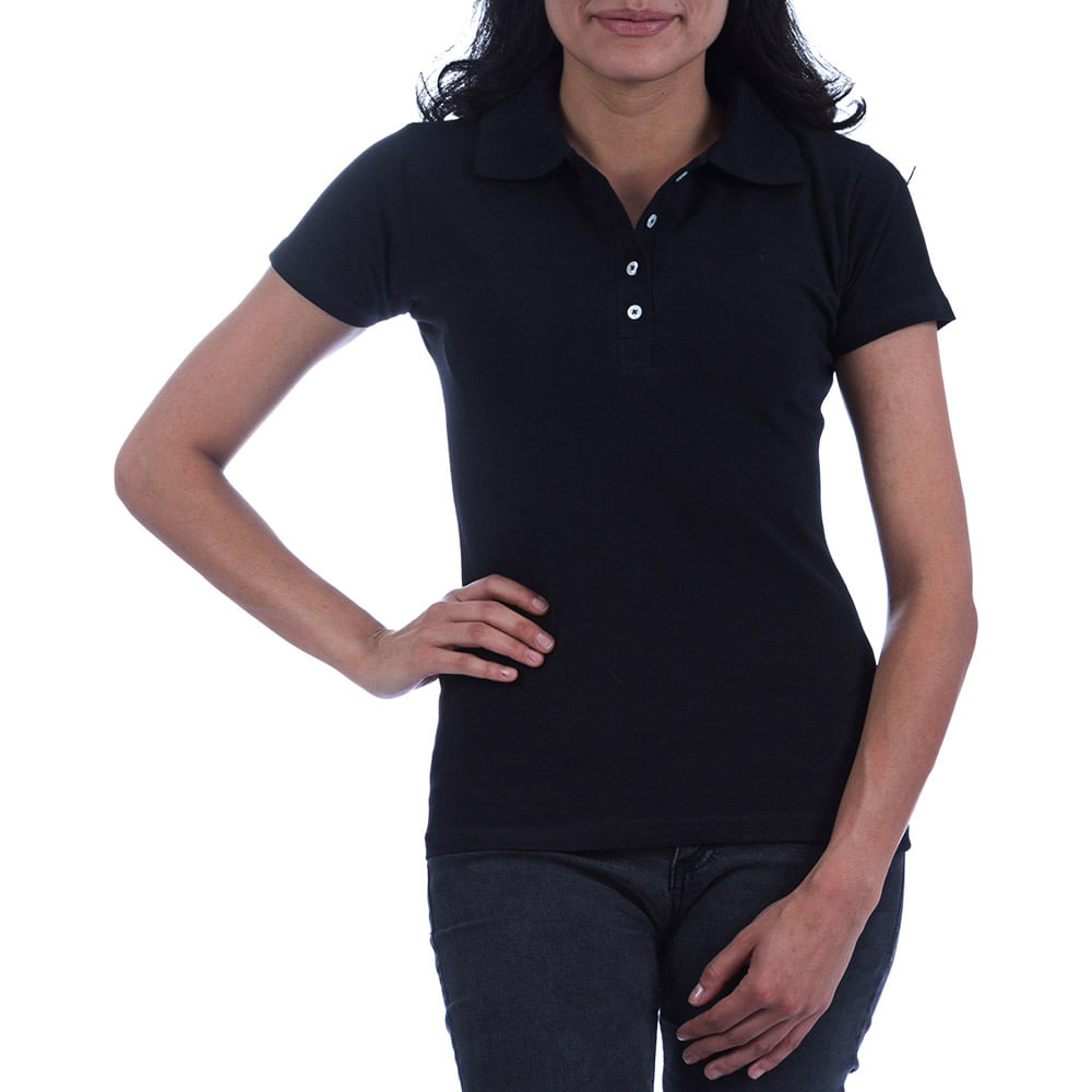 9308eab491 Camisa Polo Feminina Preta Lisa