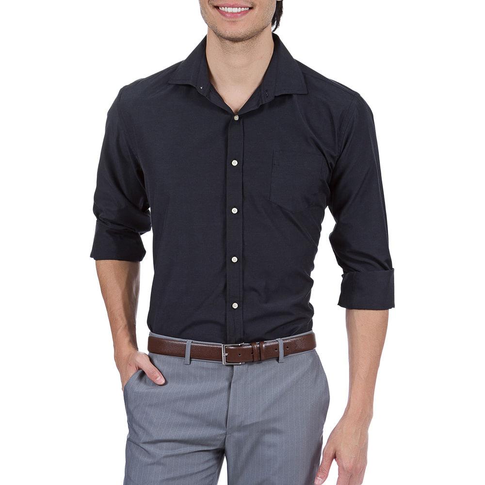 PRODUTO ADICIONADO A SACOLA. Camisa Social Masculina Preta Lisa 6f5c138236ee0