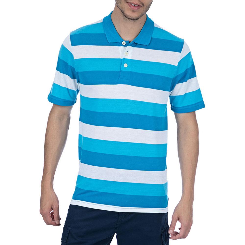 b485b17e55 Camisa Polo Masculina Azul Listrada - Camisaria Colombo