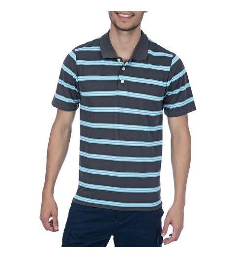 0928a08819 Camisa Polo Masculina Cinza Chumbo Listrada - Camisaria Colombo