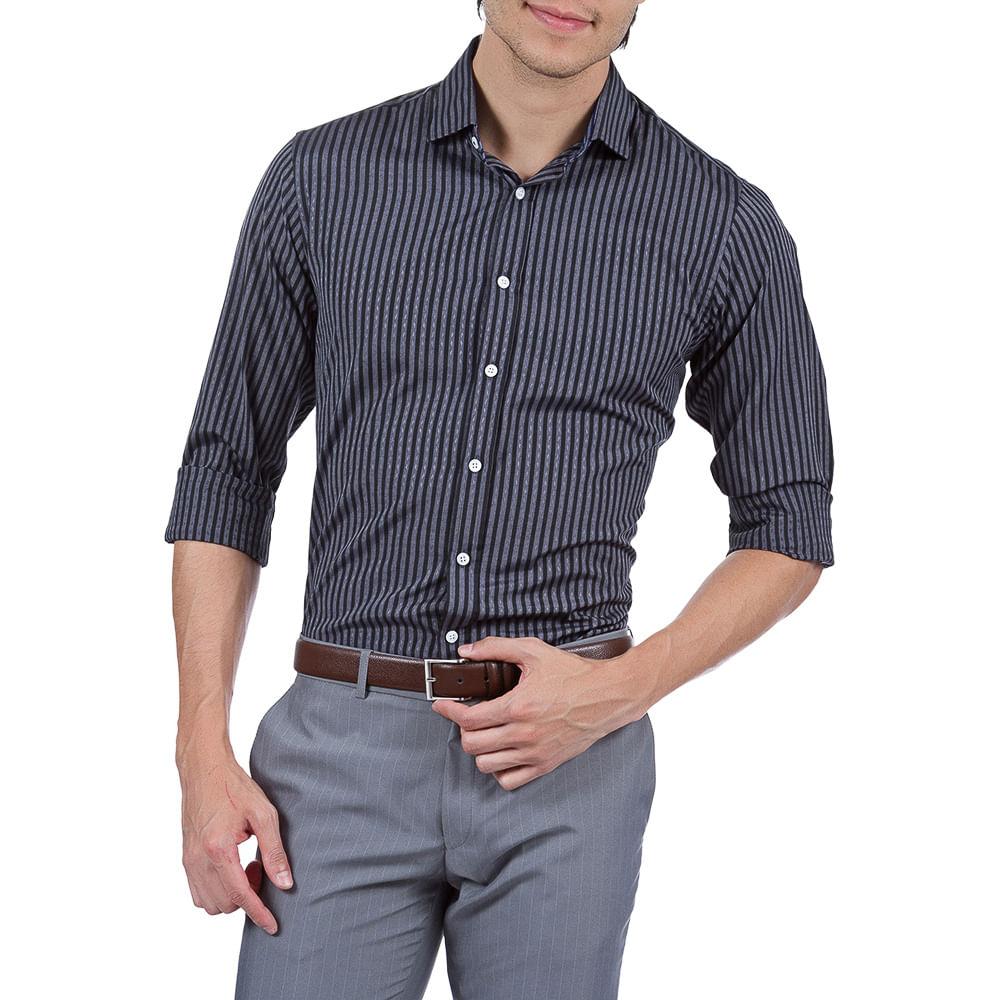 PRODUTO ADICIONADO A SACOLA. Camisa Social Masculina Preta Listrada Upper 664d0dc2a876a