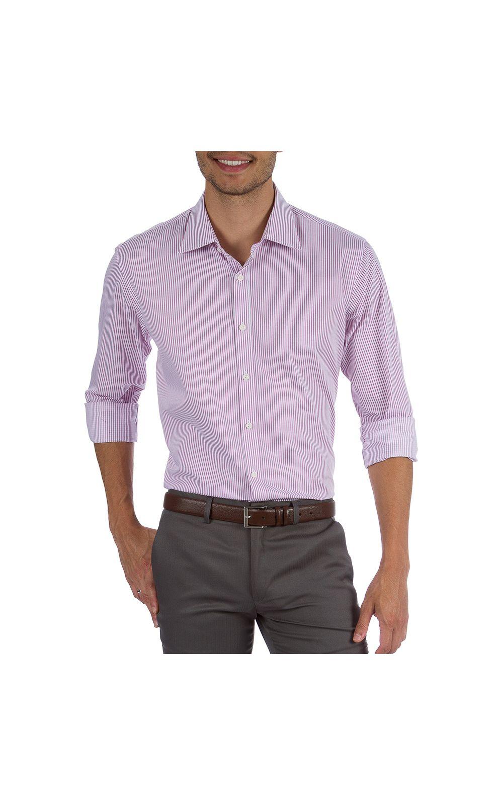 Foto 1 - Camisa Social Masculina Rosa Listrada