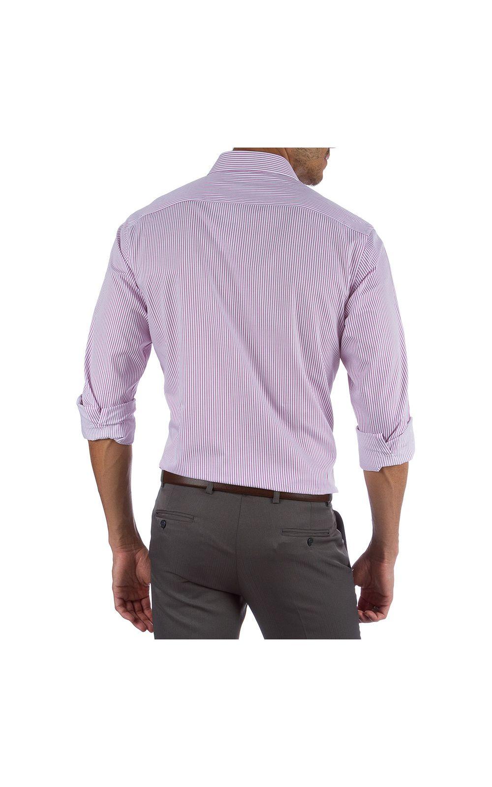 Foto 2 - Camisa Social Masculina Rosa Listrada
