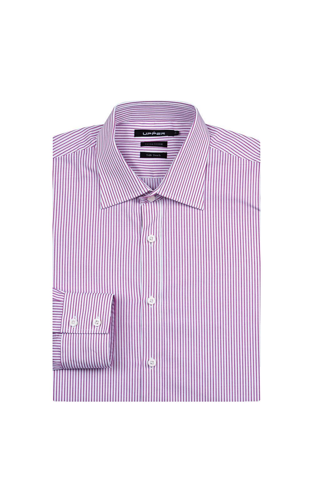 Foto 4 - Camisa Social Masculina Rosa Listrada