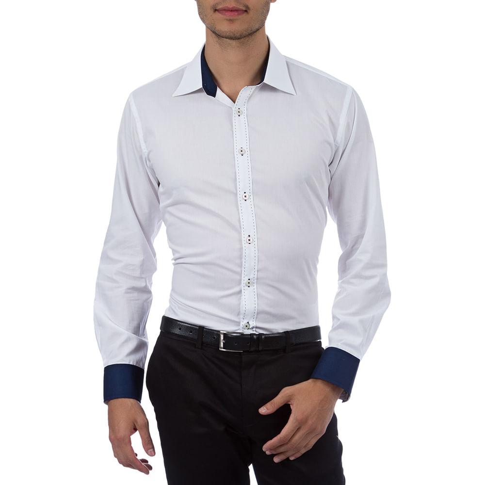 307feb4eb0 Camisa Social Masculina Branca Lisa com Detalhe - Camisaria Colombo