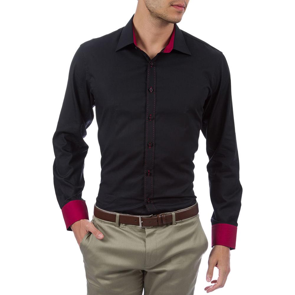 4c7514f662 Camisa Social Masculina Preta com Detalhe - Camisaria Colombo
