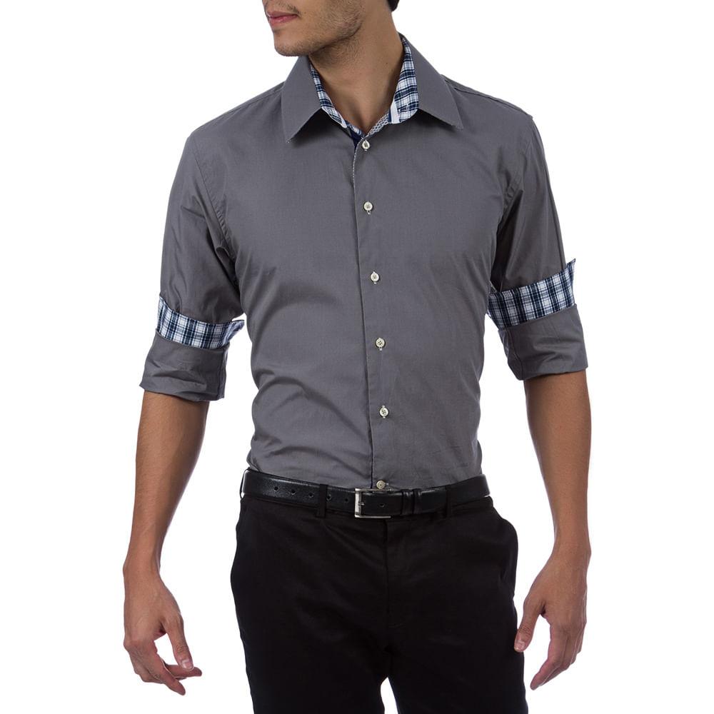 Camisa Social Masculina Cinza Lisa com Detalhe - Camisaria Colombo 8ae467e60223b