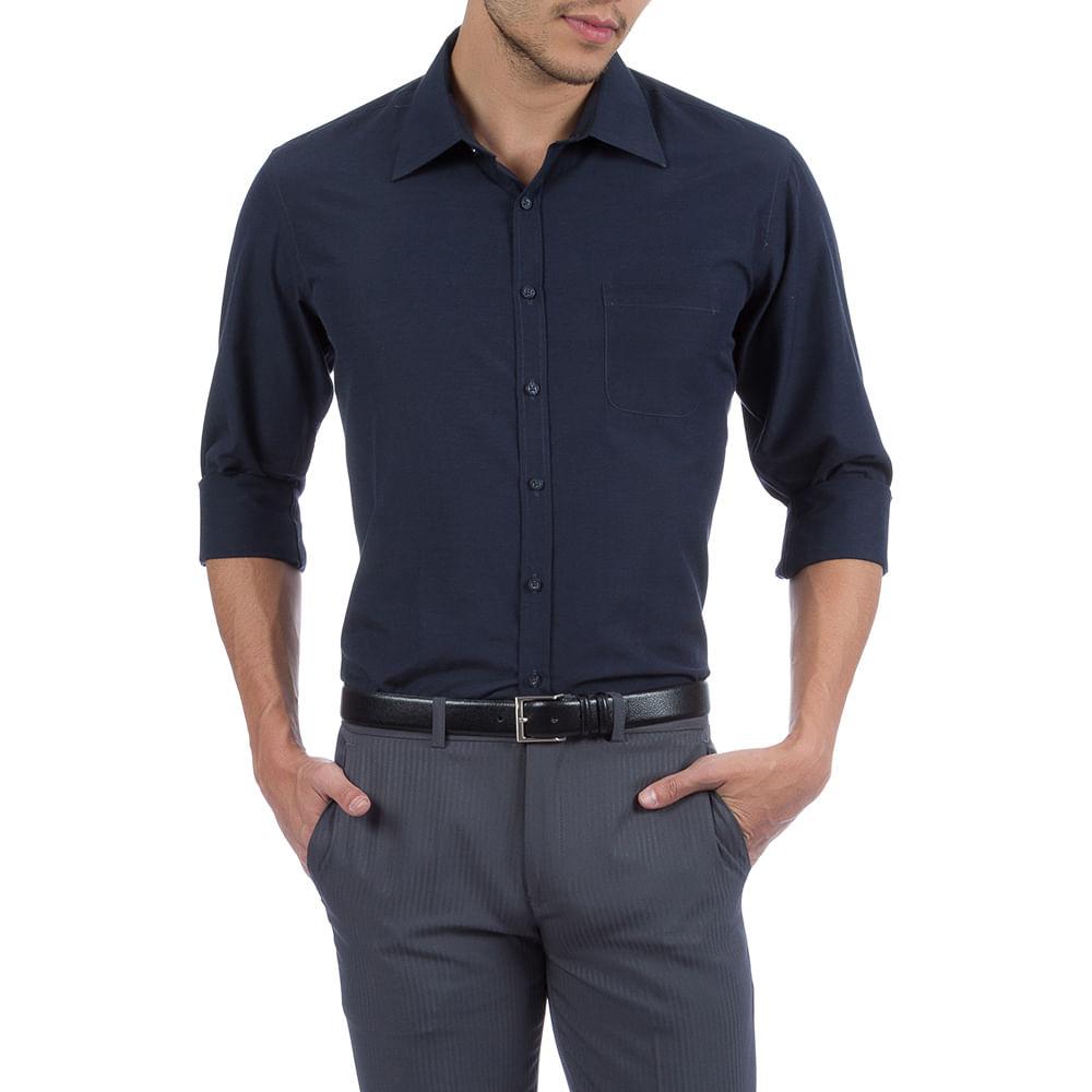 7b4c04ed0 PRODUTO ADICIONADO A SACOLA. Camisa Social Masculina Azul Marinho Lisa ...
