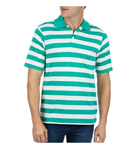 e328461584 Camisa Polo Masculina Verde Listrada - Camisaria Colombo