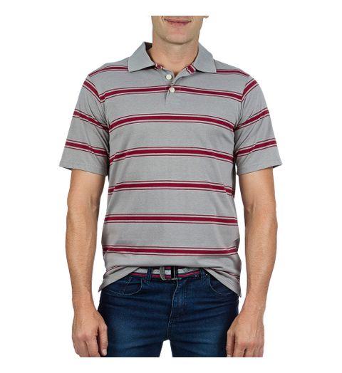 e1e7db2c9f Camisa Polo Masculina Cinza Listrada - Camisaria Colombo