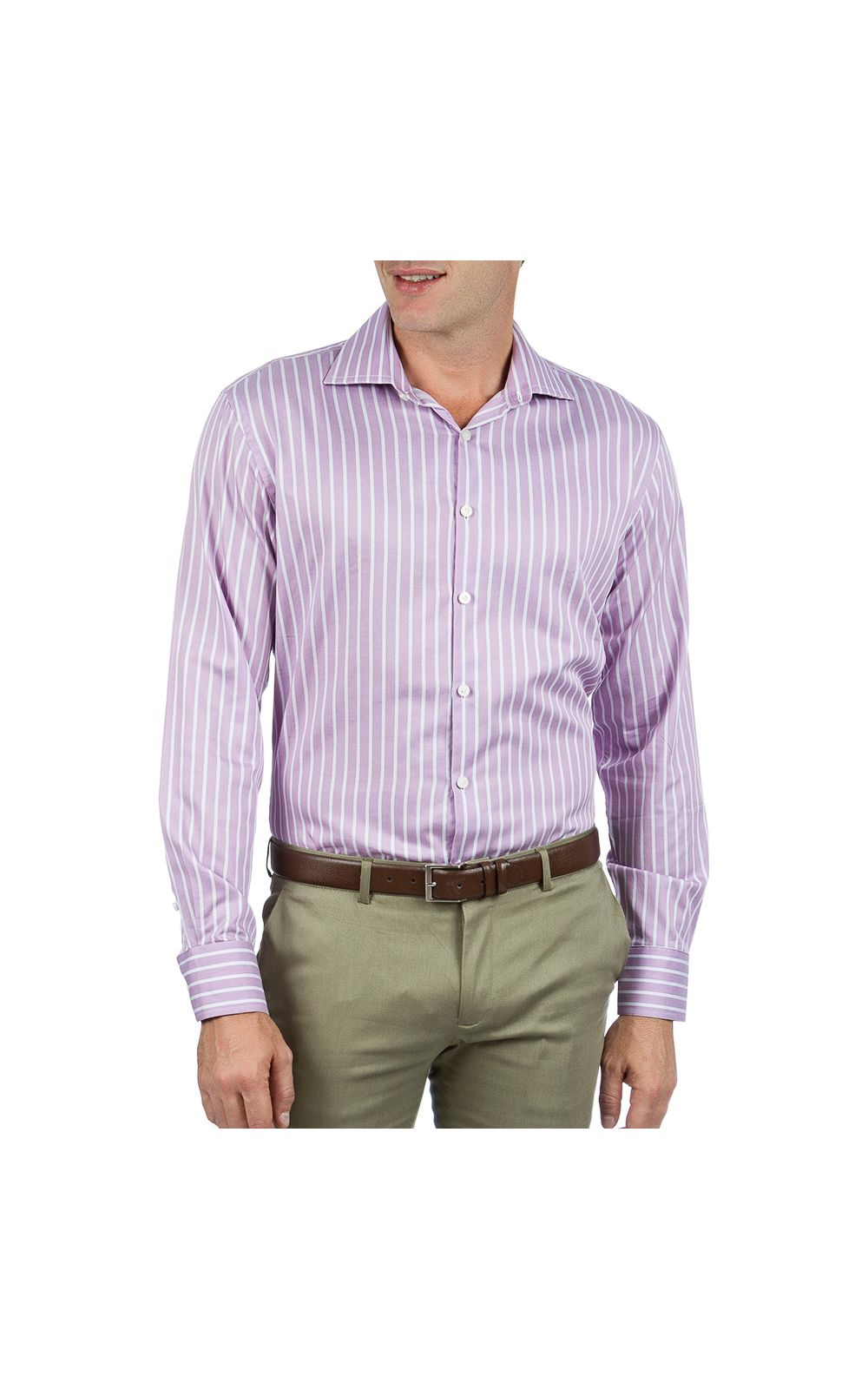 Foto 1 - Camisa Social Masculina Lilás Listrada