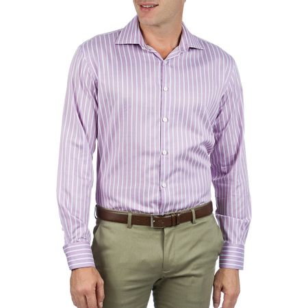 Camisa Social Masculina Upper Lilás Listrada