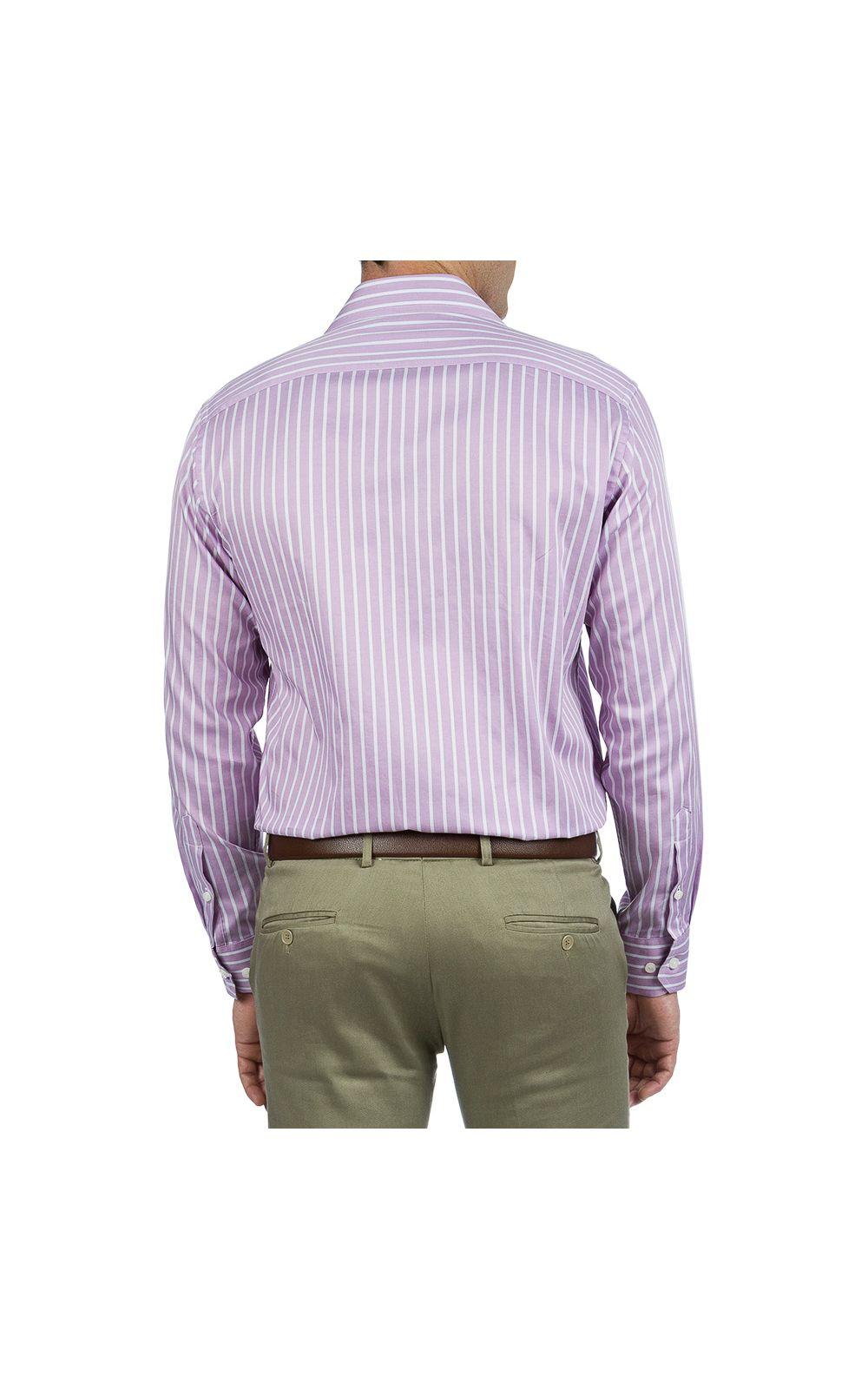 Foto 2 - Camisa Social Masculina Lilás Listrada