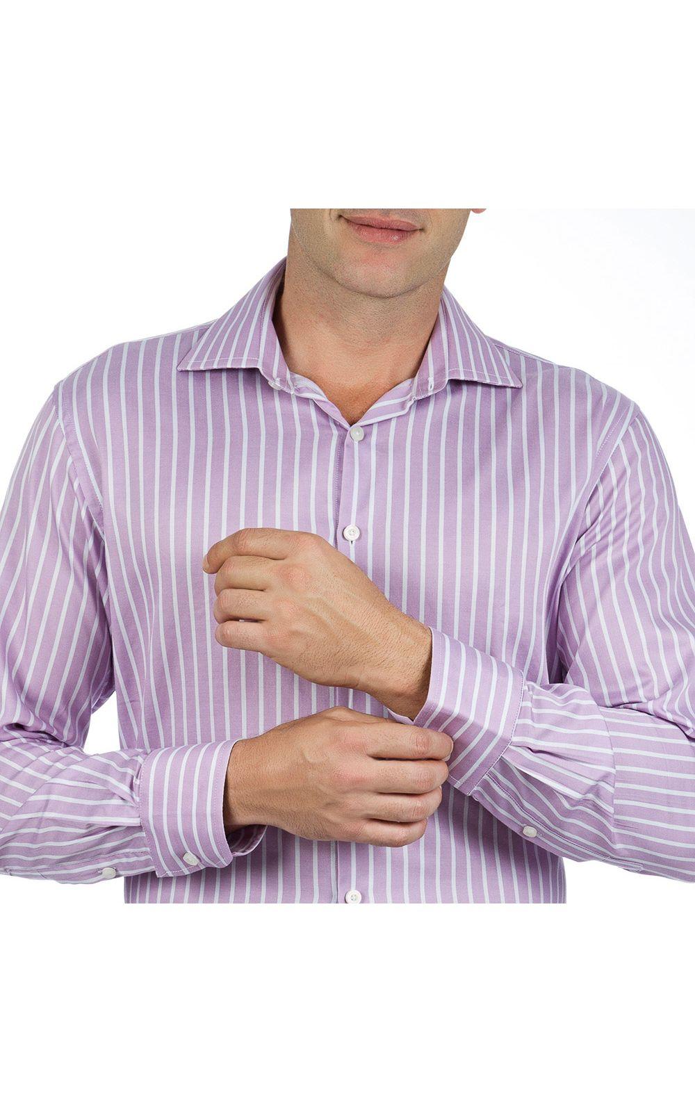 Foto 3 - Camisa Social Masculina Lilás Listrada