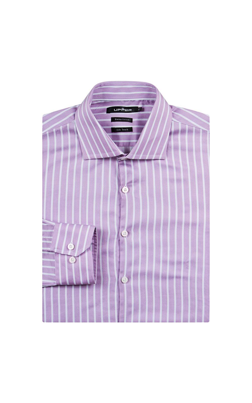 Foto 4 - Camisa Social Masculina Lilás Listrada