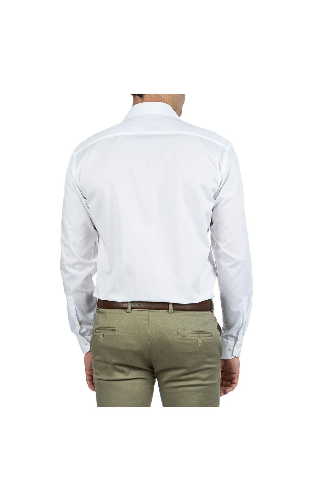Foto 2 - Camisa Social Masculina Branca Lisa