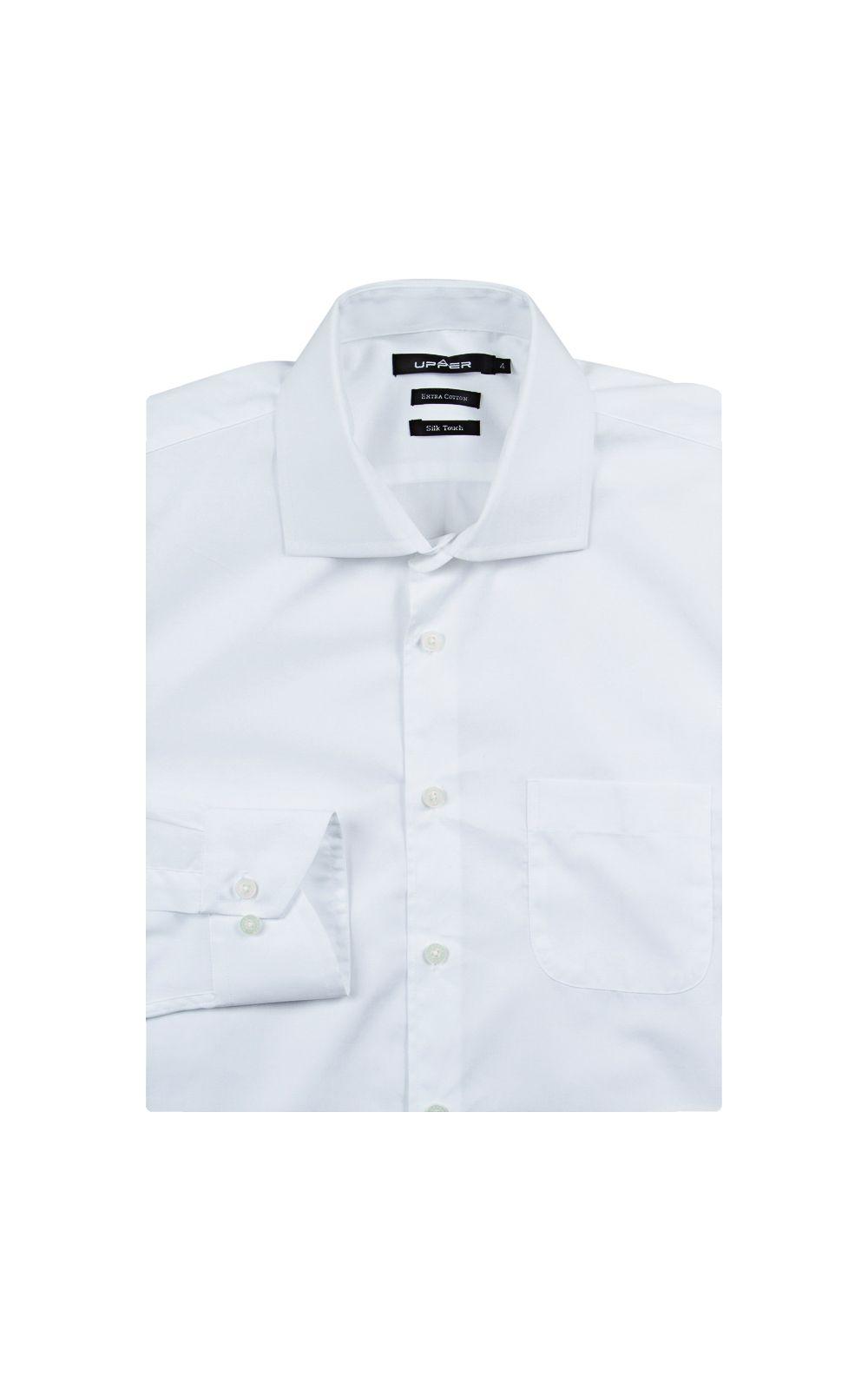 Foto 4 - Camisa Social Masculina Branca Lisa