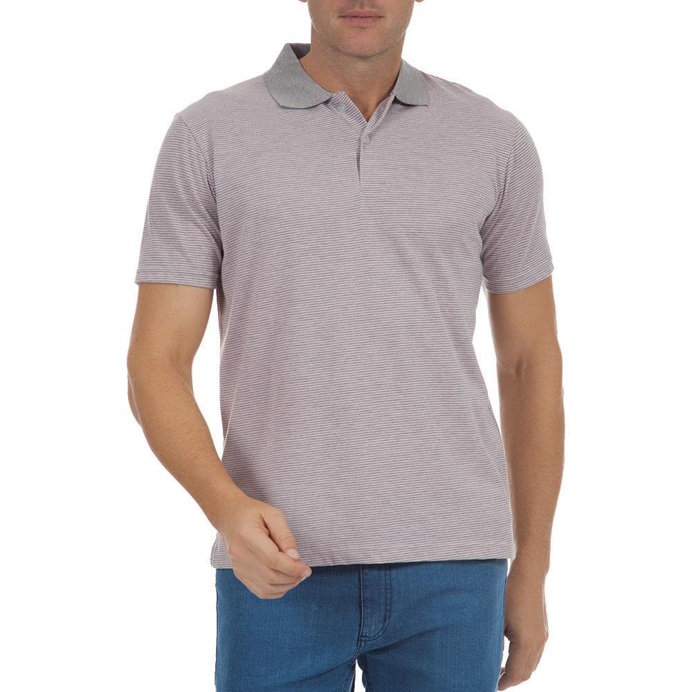 Camisa Polo Masculina Cinza Listrada - Camisaria Colombo b306a5296a6