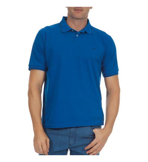d7c789c765 PRODUTO ADICIONADO A SACOLA. Camisa Polo Masculina Azul Lisa