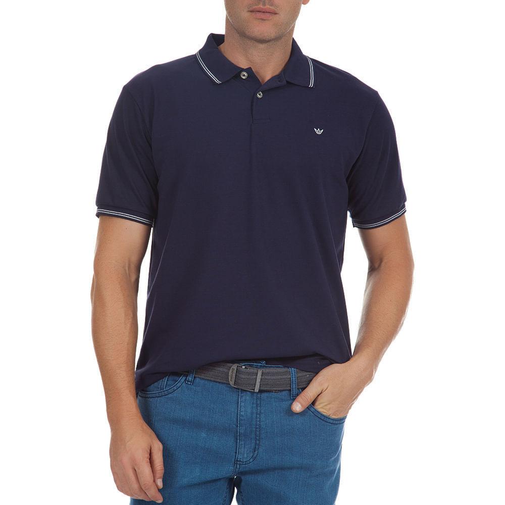 Camisa Polo Masculina Azul Marinho Lisa - Camisaria Colombo d3f23204ebe6c
