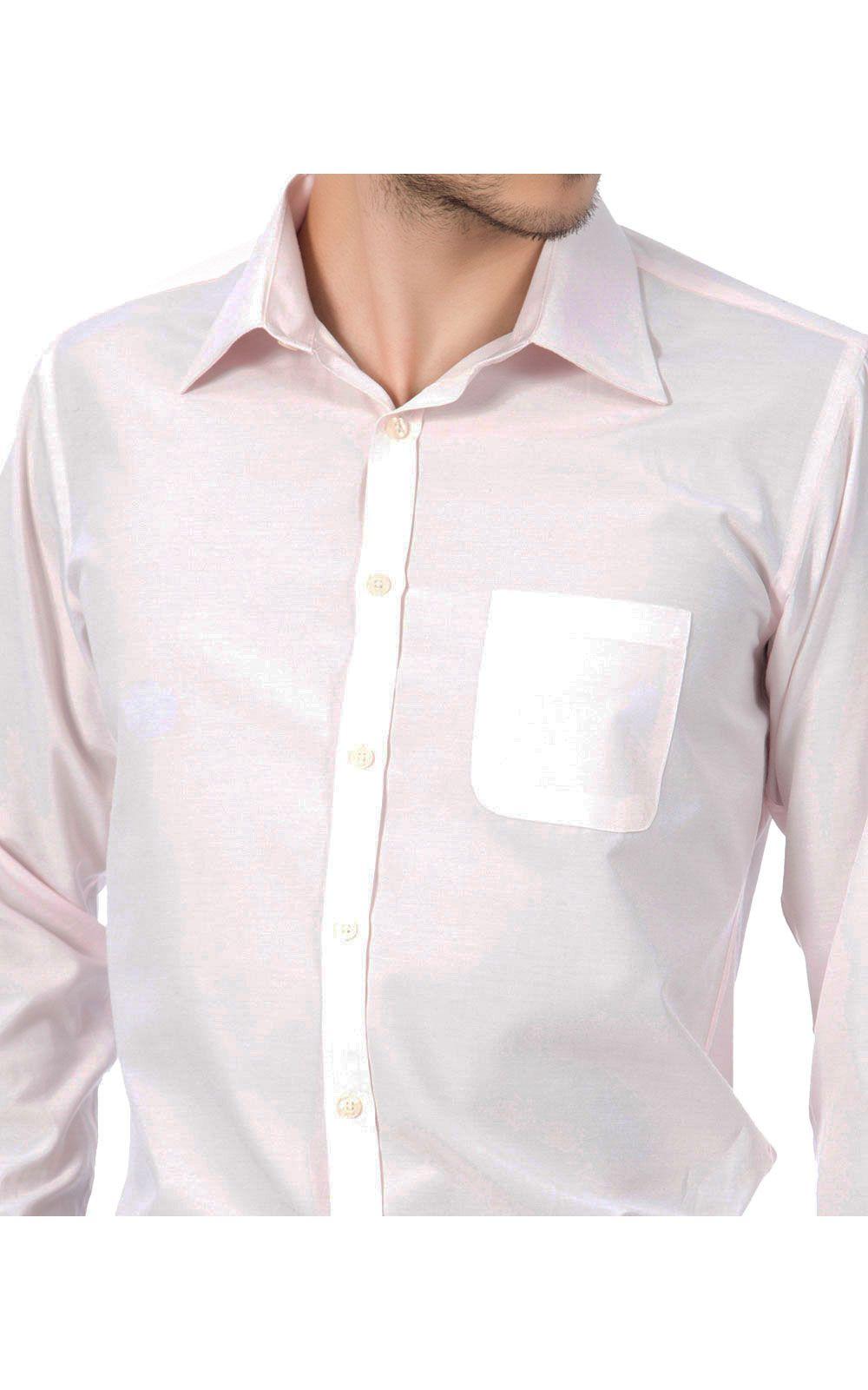 Foto 2 - Camisa Social Masculina Rosa Lisa