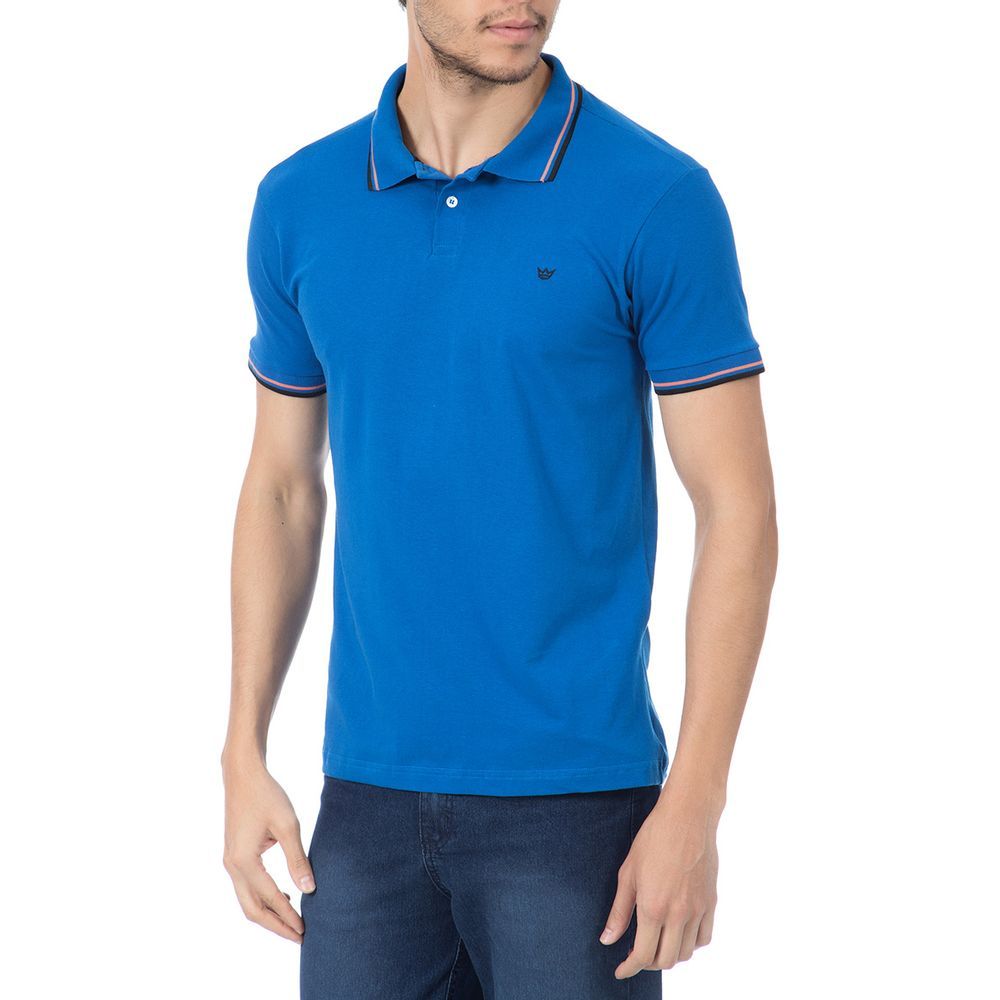 527c3c0c9e Camisa Polo Masculina Azul com Detalhe - Camisaria Colombo