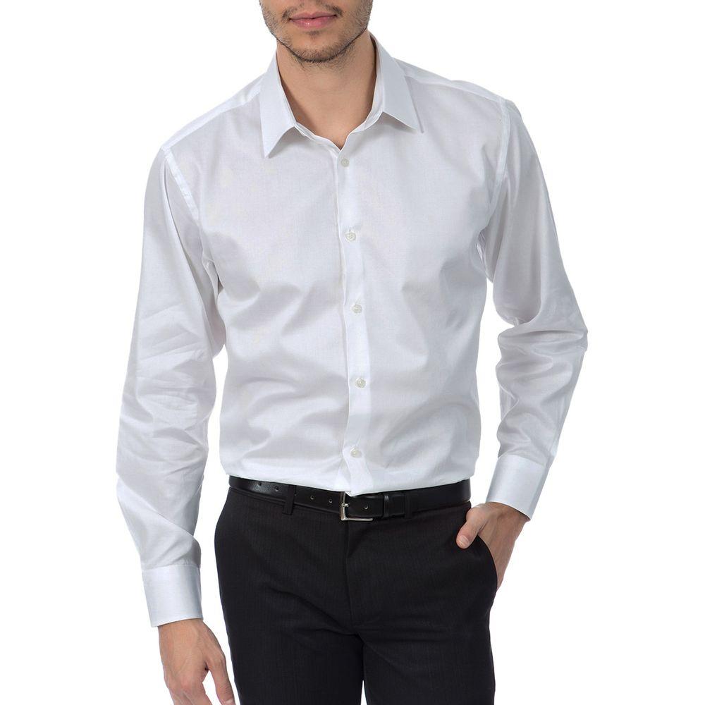 ac4beb3b6 Camisa Social Masculina Branca Lisa - Camisaria Colombo