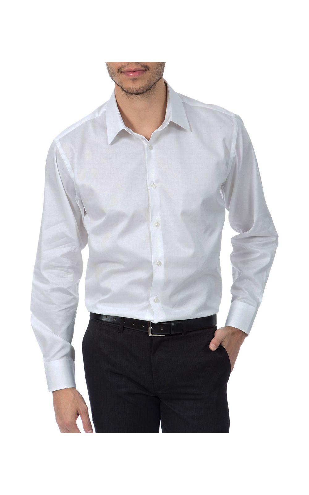 Foto 1 - Camisa Social Masculina Branca Lisa